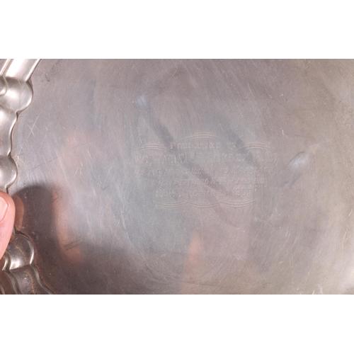 34 - Edward VII silver salver with piecrust edge and presentation inscription