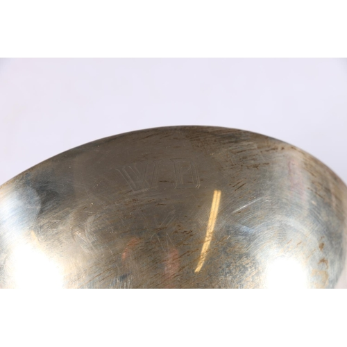 36 - Continental 900 grade silver twin handled bowl with hammered decoration, makers mark to base