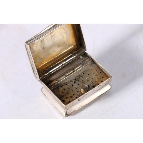 41 - Antique silver vinaigrette with engraved decoration, makers mark DS, 38g gross, 4cm x 3cm