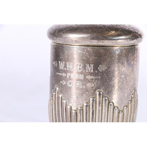 44 - Victorian silver mug and cover byRoberts & Belk (Charles Belk & EParkin), Sheffi...