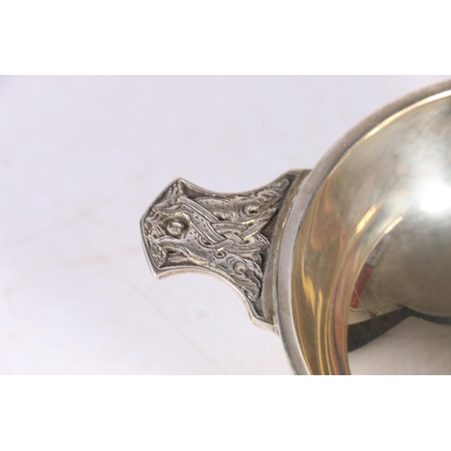 48 - Contemporary silver quaich with Celtic knot dragon handles byWakely & Wheeler, London 1969...
