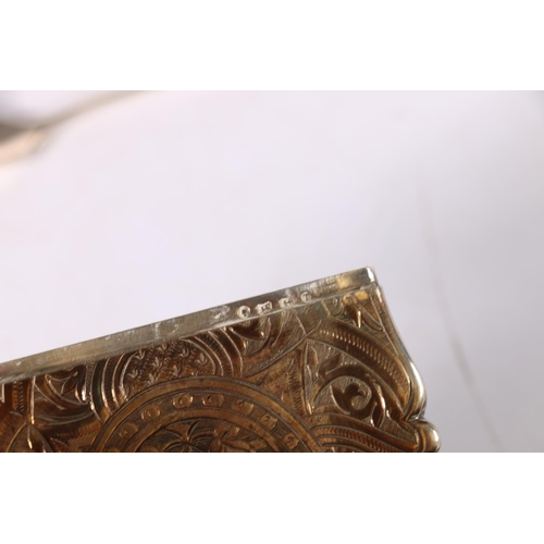 7 - Victorian silver card case with allover engraved decoration, makers marks rubbed, Birmingham 1868, 5...
