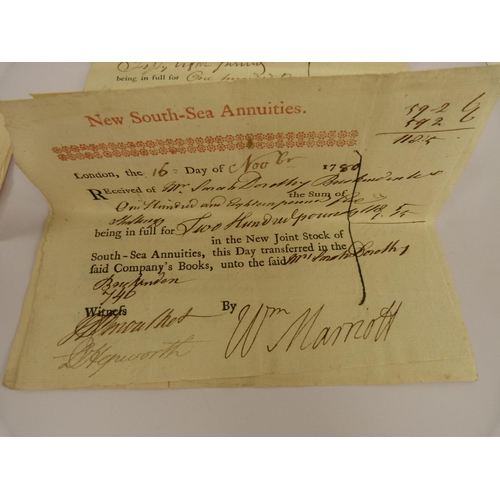 18 - New South-Sea Annuities.9 certificates of the purchase of Stock. Printed in red & black with ma...