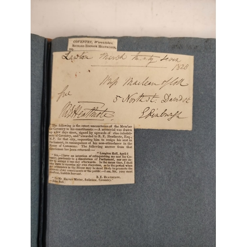 30 - Early 19th Century Members of Parliament. Signatures.A folio album in canvas covered brds. con...