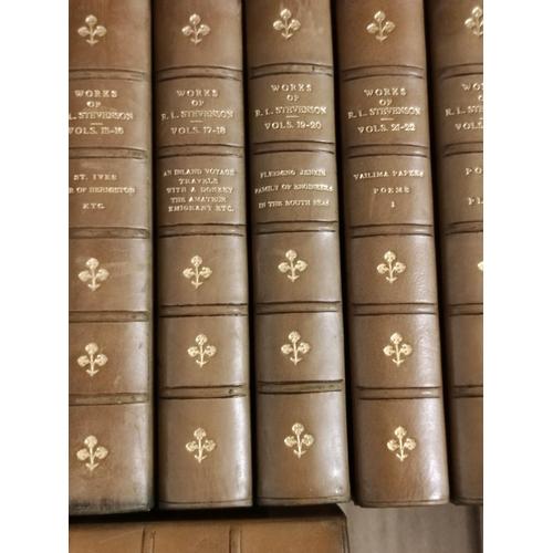 53 - STEVENSON R. L.Tusitala Edition of The Works. 35 vols. in seventeen. 12mo. Green half ca...