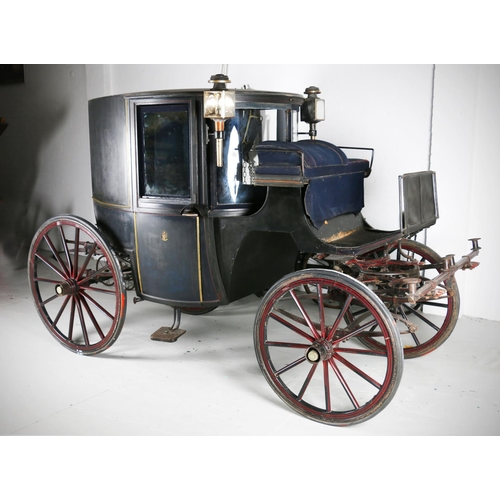 1 - BOW FRONTED BROUGHAM by Hutton & Son of Dublin. In black with small coat of arms to the door, th...