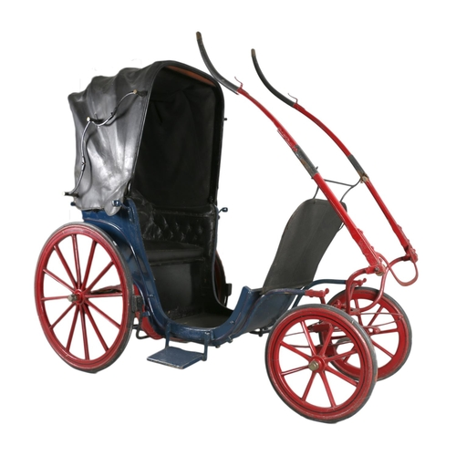 PONY PHAETON, or invalid carriage. In blue on maroon/red running gear, lined black. Leather head and dash, button trim and upholstery with Melton cloth head lining.