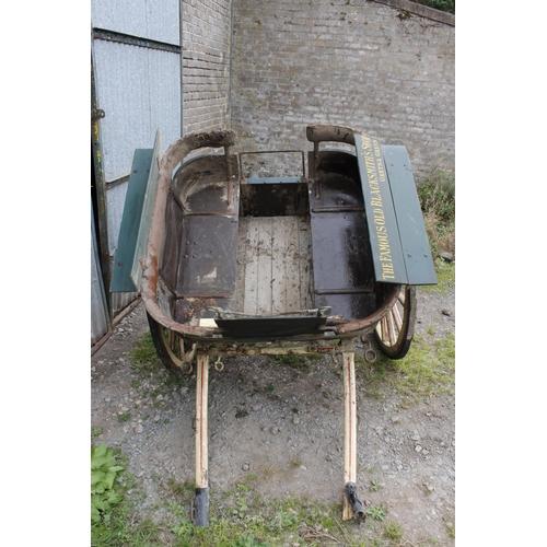 7 - PONY GOVERNESS CAR,rail sided example, for restoration. W. Bow & Co., Edinburgh to one wheel hu...