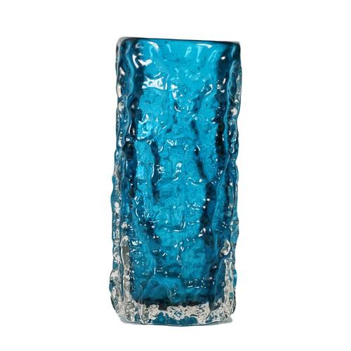 Whitefriars glass textured bark vase in kingfisher blue, designed by Geoffrey Baxter, pattern #9689, 19cm.
