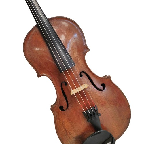 Antique 18th century Italian 4/4 violin bearing interior paper label 'Sebastianus Albanesi Cremonenn Anno Domini D.G 1741' and later repairers label dated 1809. Grafted neck with spruce top and two piece maple back. Small crack to left F hole.