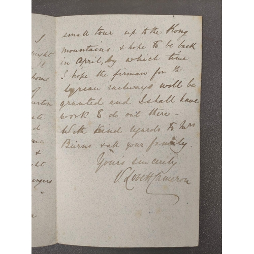 20 - Letters.11 manuscript letters incl. from Verney Lovett Cameron, George Cruickshank (2), Joseph Cham...