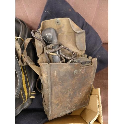 53 - Vintage Oxford motorcycle tank bag, field telephone, duffel coat etc