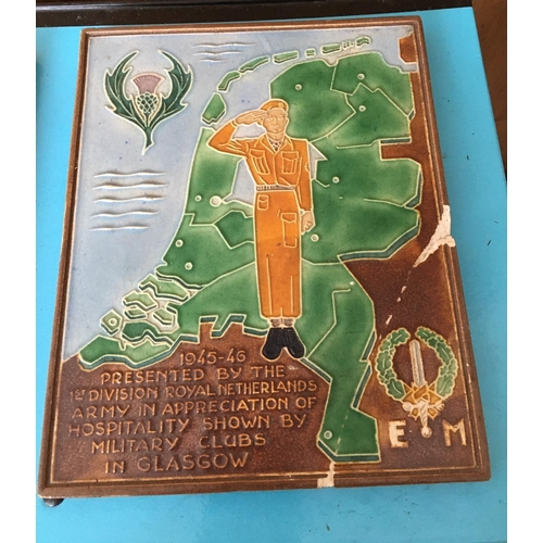 17 - <p>Lot of 2 World War Dutch Tiles presented by Dutch Military to Military Clubs in Glasgow.</p> <p>B...