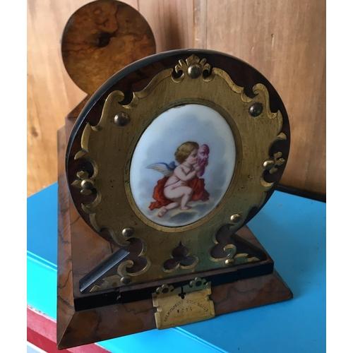 19 - <p>Antique Betjeman's Patent Bookslide inset with Porcelain Plaques - 16