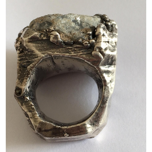 24 - <p>Vintage Modernist Brutalist Ring with Quartz Stone Head - 28mm x 24mm.</p> <p>The Ring tests as S...