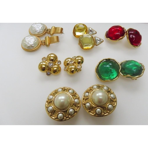 49 - <p>Christian Dior, Yves Saint Laurent, Givenchy – six pairs of vintage designer costume jewellery ea...