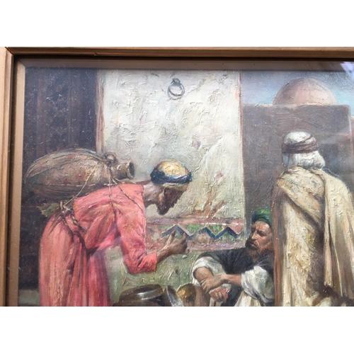 50 - <p>Eugene Pavy 1889 Oil Painting of Arabic Scene - actual Oil 28.5cm x 21cm.</p> <p>The frame measur...