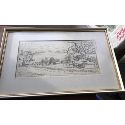 51 - <p>Sir William Gillies Pencil Drawing - 51cm x 24.5cm.</p> <p>The frame measures 71cm x 47cm.</p> <p...