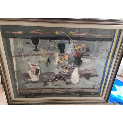 53 - <p>William Baillie 1984 Oil Painting - Grey Table and White Jug 90cm x 70cm.</p> <p>The frame measur...