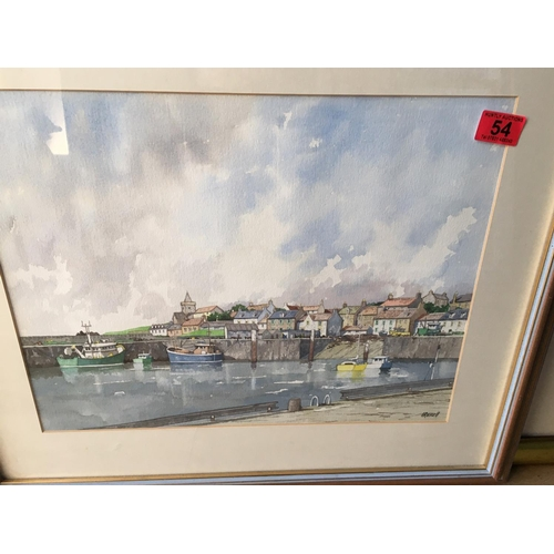 54 - <p>Irvine Russell Harbour Scene Watercolour - 44cm x 36cm.</p> <p>The frame measures 65cm x 56cm.</p...