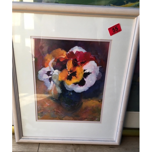55 - <p>Bob Batchelor Flower Watercolour - 32cm x 25cm.</p> <p>The frame measures 53cm x 45cm.</p>...
