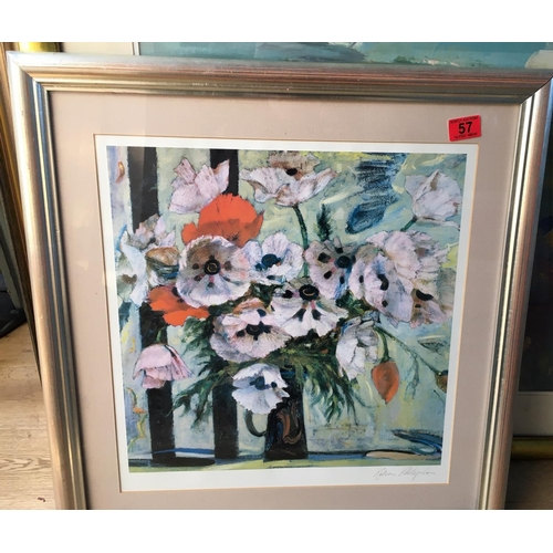 57 - <p>Robin Philipson Pink Poppies signed print - 47cm x 45cm.</p> <p>The frame measures 65cm x 62cm.</...