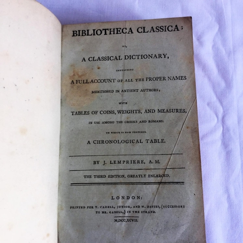 2 - 1798 version of Bibliotheca Classica 3rd Edition by Lempriere. Published by T Cadell and W Davies in...