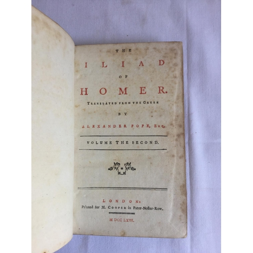 20 - 1766 Homers Iliad 2 volumes. The Iliad of Homer by Alexander Pope published in London...