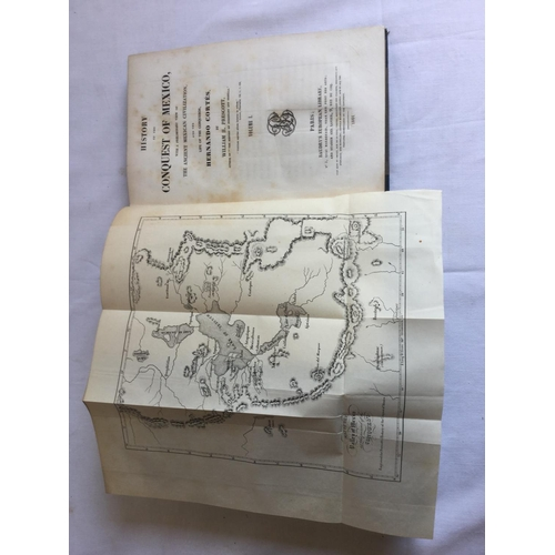 21 - 1844 History of the Conquest of Mexico Three Volumes by William H Prescott published by Baudry's Eur...
