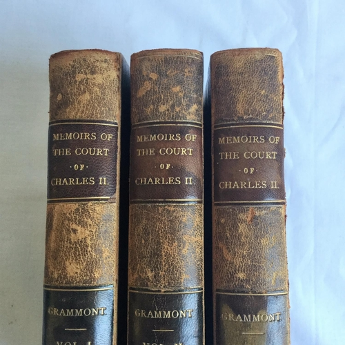 3 - 1809 Memoirs of the Court of Charles II by Count Grammont 3 volumes complete published by J White Fl...