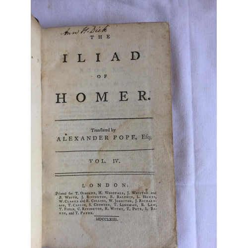 37 - 1763 The Odyssey / Iliad of Homer Four Volumes by Alexander Pope published in London...