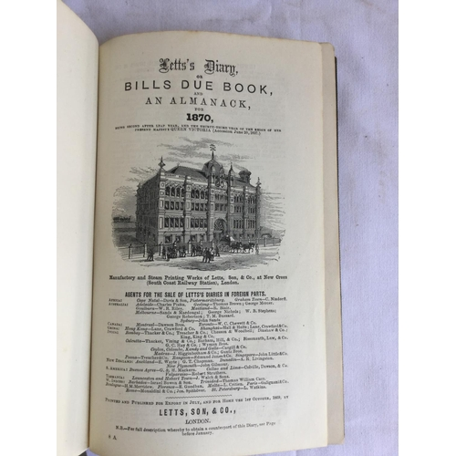49 - Letts Diary for 1870. Published by Letts, Son & Co....