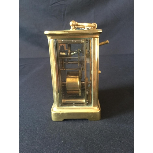 1 - French brass carriage clock MM&Co. Bevelled glass, Damage to front glass panel with small  chip in c...