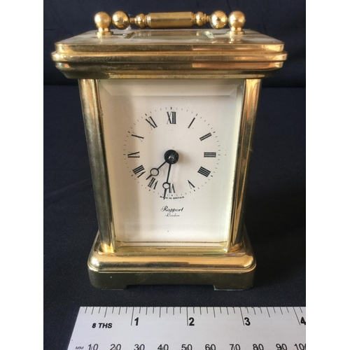 10 - Rapport 20th century carriage clock. Possible replacement on escape platform. Good condition...