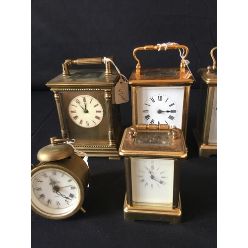 14 - Collection of 6 clocks 4 carriage and 2 alarm clocks all not running....