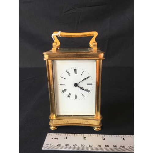2 - 20th Century unattributed Brass carriage clock. Not original platform escape. Bevelled glass....