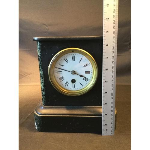 25 - French Black slate mantle clock. Unattributed maker, bob pendulum movement. Clock is untested....