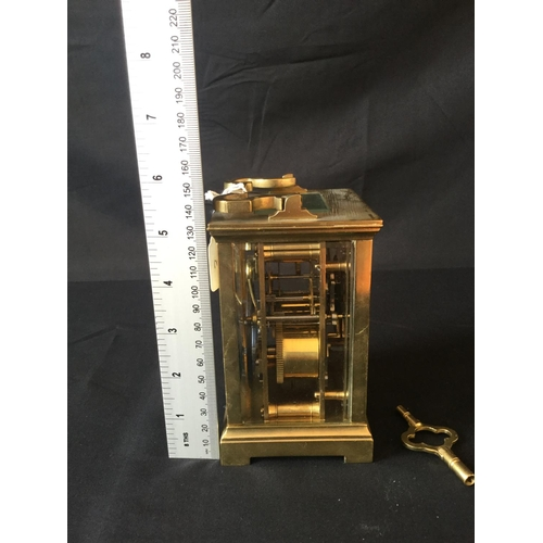 3 - French 19/20th century single gong chime carriage clock. No repeater. Bevelled glass, original platf...