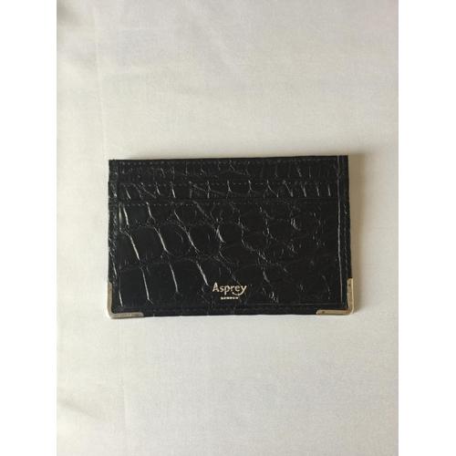 32 - Asprey of London Black crocodile skin card holder with 925 silver edges. Dated 2001 London minted. C...