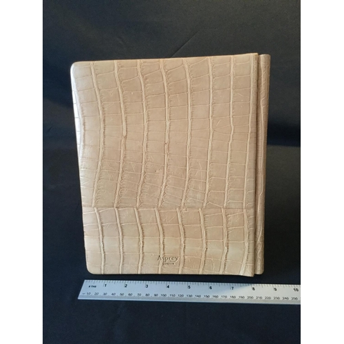 36 - Asprey crocodile skin photo album. Asprey London stamp to front. Never been used...