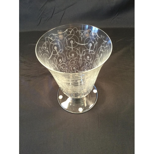 42 - Baccarat French etched glass vase. 17.5 cm in height, 14cm in diameter....