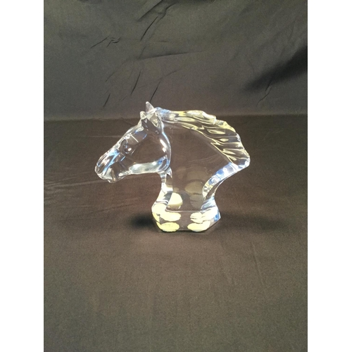 45 - Baccarat French crystal glass horse head. 12 cm in height....