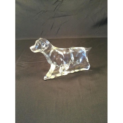 46 - Baccarat French crystal glass Labrador / hunting retriever. 11 cm in height, 18 cm in length....