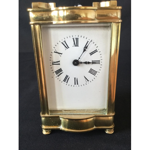 5 - 20th century unattributed carriage clock. Original escape platform. Blued distinctive hands. Stylise...