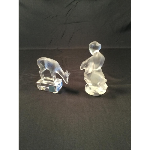 51 - 2 Lalique French glass ornaments. Lady with fawn & Deer / Fawn. Both in perfect condition...