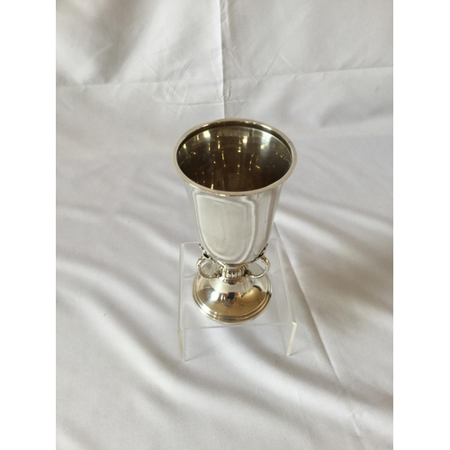 56 - Silver hallmarked goblet by Mappin & Webb weighing 201 grams. Hallmark is Birmingham dated 1928. Bea...