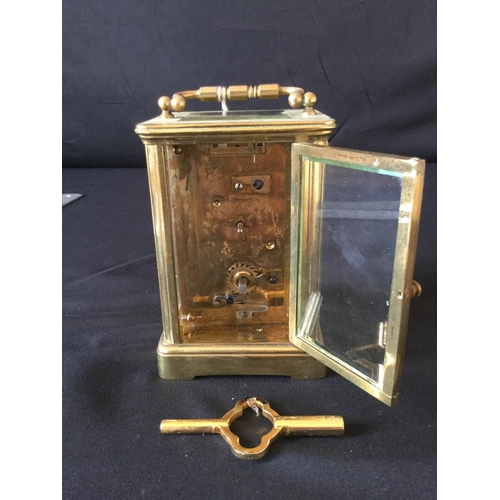 9 - French 20th century jewellers carriage clock. Original escapement with bevelled glass and Tear drop ...