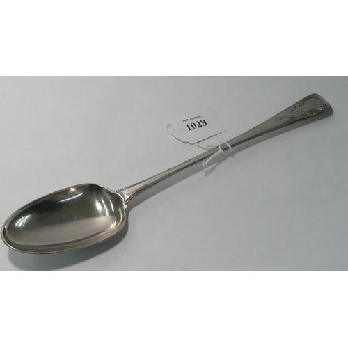 "Dublin Silver Basting / Serving Spoon measuring 11 1/4"" long, Maker M.K, 3 oz Troy."