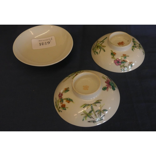 1019 - Handapinted Chinese Porcelain Covers.