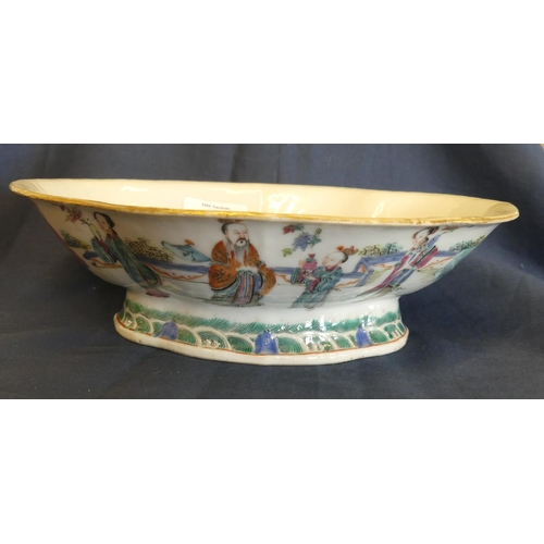 1027 - Chinese Shallow Lotus Shaped Bowl Painted with Figures, measuring 23.5 x 18cm.